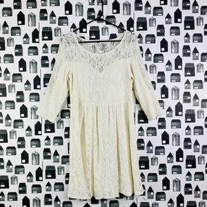 Free People | White Lace Long Sleeve Dress